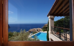 Villa in Cala Llamp - Living room view over the garden and pool
